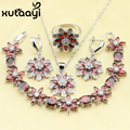 XUTAAYI Fashion Flowers Red Created Garnet Sweet Sterling Silver Overlay Jewelry Sets Fetching Necklace/Rings/Earrings/Bracelet