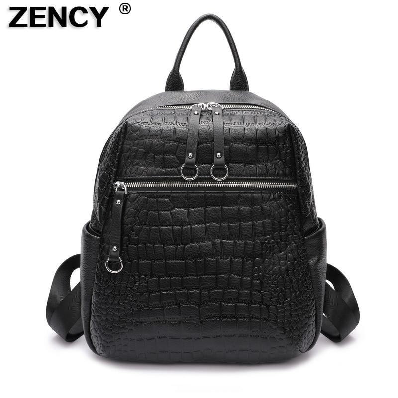 ZENCY 2019 Natural Calfskin 100% Italian Real Genuine Cow Leather Women Backpack Ladies Girl Top Layer Cowhide Book Bags Mochila