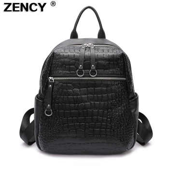 ZENCY 2019 Natural Calfskin 100% Italian Real Genuine Cow Leather Women Backpack Ladies Girl Top Layer Cowhide Book Bags Mochila - DISCOUNT ITEM  51 OFF Luggage & Bags