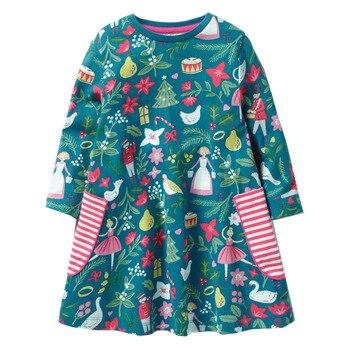 คริสต์มาสชุดเด็กทารกเสื้อผ้าแขนยาวหญิงชุดเด็ก Vestidos รูปแบบตัวอักษรเจ้าหญิงชุดเสื้อผ้าเด็ก