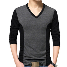 BROWON Fashion Men T shirt Color Patchwork Design Tee Shirt Homme Cotton Long Sleeve T Shirt Men V neck Tshirt Homme