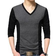 BROWON moda erkek T shirt renk Patchwork tasarım Tee gömlek Homme pamuklu uzun kollutişört T Shirt erkekler v yaka Tshirt Homme