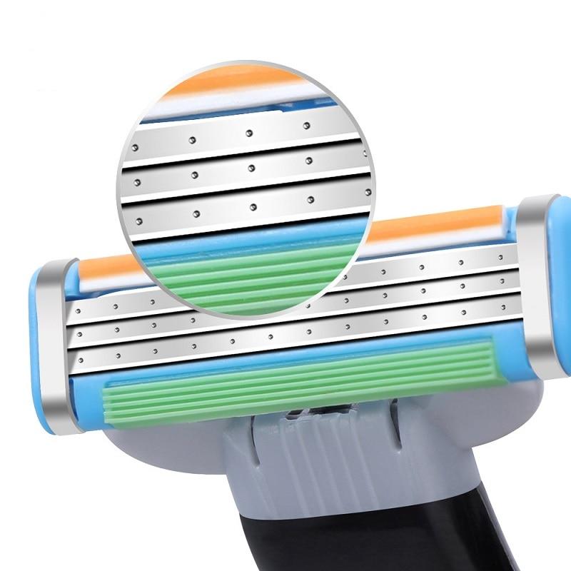 (12 Pcs Razor Blade +1 Handle) High Quality Sharp Men Razor Blades Shaver Cassettes Men Shaving Blades Mache 3