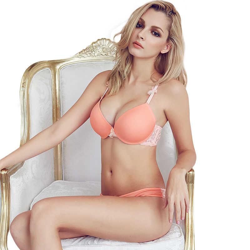 Sexy Mousse Mùa Đông Sexy Thanh Lịch Áo Ngực và Quần Lót Đặt Đồ Lót của Phụ Nữ đẩy lên Áo Lót Liền Mạch hồng orange bra thiệu tóm tắt thiết lập