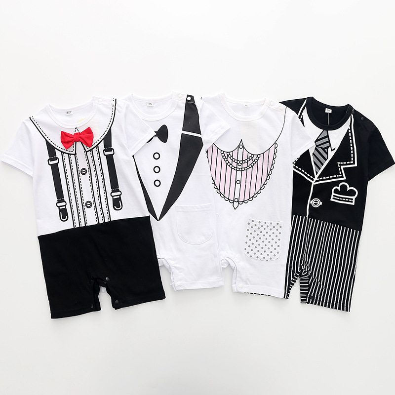 2018 Summer baby girls boys printed tie necklace rompers fashion gentlmen climbing clothes party infant cotton jumpers 18M06