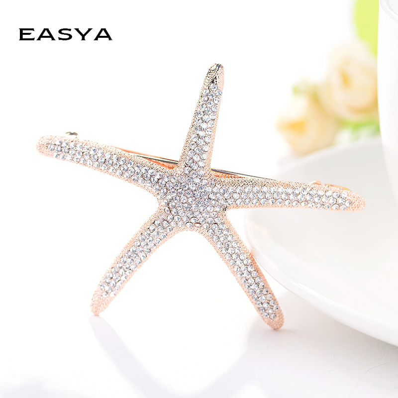 EASYA New Fashion Full Crystal Starfish Hairpin Hair Barrettes Accessories Large Rhinestone Hair Clips   Headwear   For Women Girls