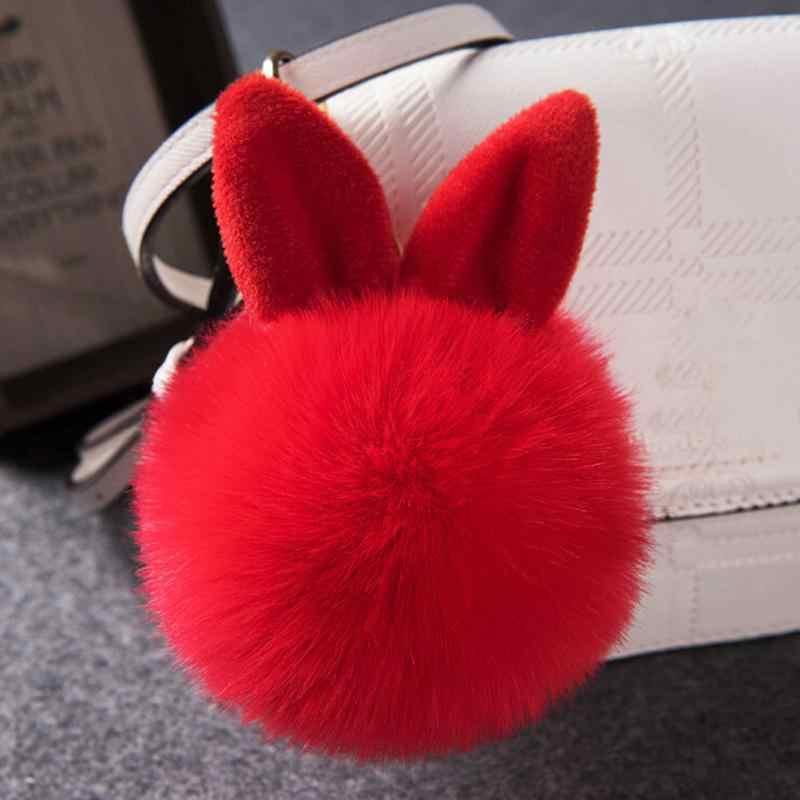 Novo Fofo Coelho Chaveiro Carro Mulheres Adorável Orelha de Coelho Bola De Pêlo de Lã Artificial Chaveiro Saco Anel Chave Chaveiro Auto acessórios