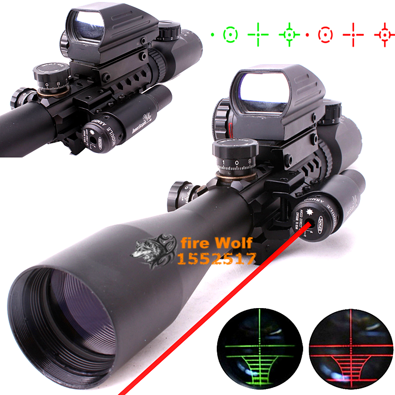 Optics Rifle 3-9X40EG Illuminated Hunting Red/Green Laser Riflescope with Holographic Dot Sight Combo Airsoft Gun Weapon Sight tactical scope hunting optics riflescope 3 9x40 illuminated red laser riflescope with holographic dot combo gun weapon sight