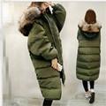 New 2016 Han Edition Women Coat Loose Big yards Leisure Hooded fur collar Thicken Keep warm Long Down jacket Winter Coat G1178