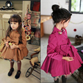 2016 Spring/Autumn Fashion coat for girls 1pc girls clothes long sleeves girls trench with bow diamond children girls outwear