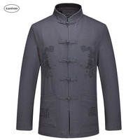 Dragon Jackets Men Embroidery Cotton Jackets Spring Chinese Style Jacket Plus Size Mandarin Collar Tops Mens