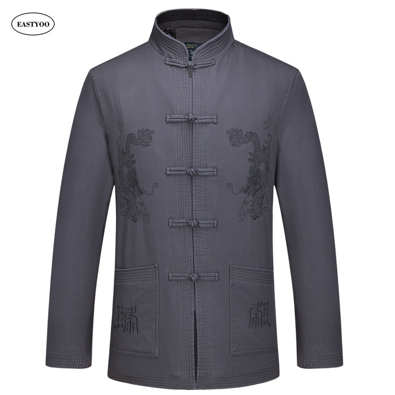 Dragon Jackets Men Embroidery Cotton Jackets Spring Chinese Style Jacket Plus Size Mandarin Collar Tops Mens Jackets And Coats