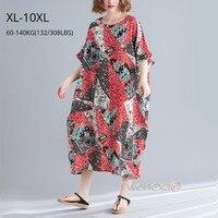 Long Boho Elegant Print Ladies Loose Beach Frocks Wear Dresses Saida De Praia Summer Holiday Plus Size XL to 10XL Big Yard Dress
