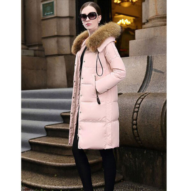 25cm Width Large Real Natural Raccon Fur 2016 High Quality Winter Jacket Women White Duck Down Parka Thicken Warm Plus Size 5XL