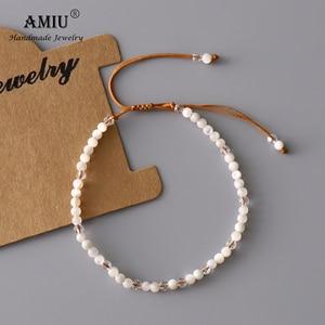 AMIU Natura Белый перламутровый браслет с бусинами регулируемый браслет с натуральным кристаллом Богемия приносит удачу в подарок браслеты