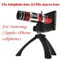 4em1 18x telefoto telescópio 150x zoom lente macro para samsung galaxy s6 borda mais caso s7 telefone lentes para iphone 6 6 s 7 plus