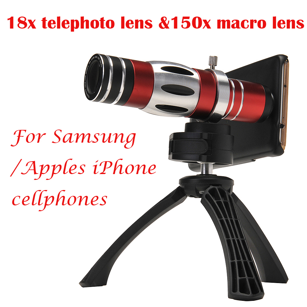 4in1 18X Telephoto Telescope 150X Zoom macro Lens For Samsung Galaxy S6 S7 edge Plus Case Phone Lenses For iPhone 6 6s 7 Plus