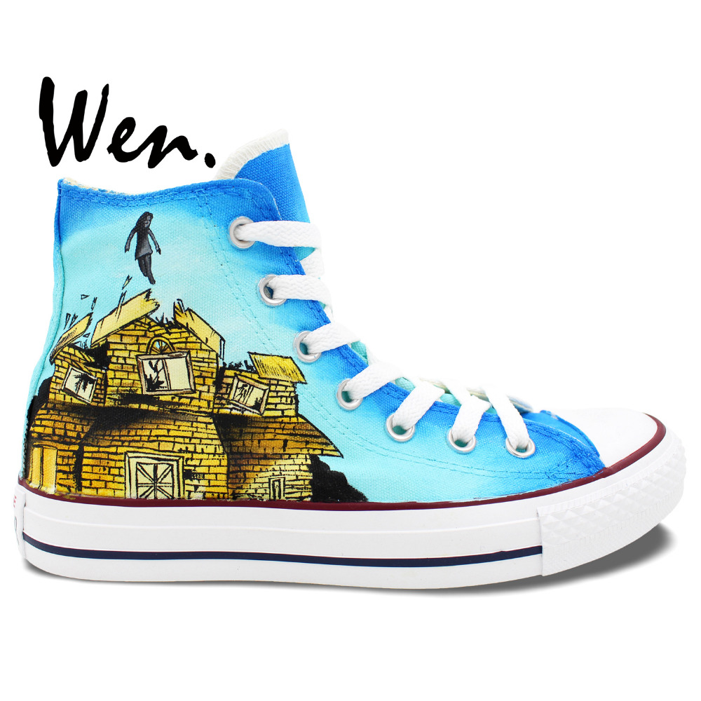 ФОТО Wen Unisex Blue Hand Painted Casual Shoes Custom Design Pierce The Veil Women Men's High Top Canvas Shoes Christmas Gifts