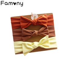 3Pcs/Set Baby Striped Cotton Bow Knotted Headbands Stretchy Newborn Baby Hair Band Handmade Soft Girls Hair Accessories zofz newborn baby clothing cotton baby girls short sleeve set three piece princess dress set with bow hair band and underpants