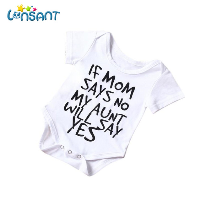 7a8da6490 LONSANT 2018 Summer Baby Boy Girl Cotton Romper Newborn 0 24M Funny ...