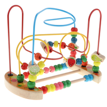 Baby Activity Bead Maze Puzzle, Toddler Wooden Roller Coaster Sliding Beads Game Developmental Toy - Fruits