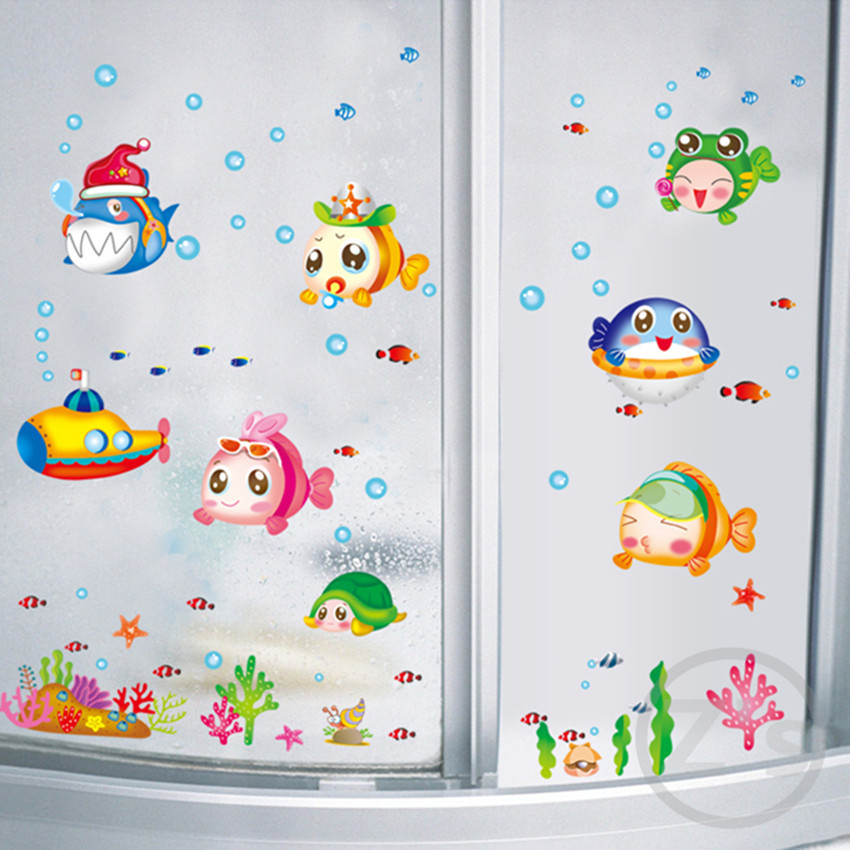 Zs Sticker Nemo Fish Sea Cartoon Wall For Shower Tile Stickers In The Bathroom Children Kids Baby Bath From Home Garden On