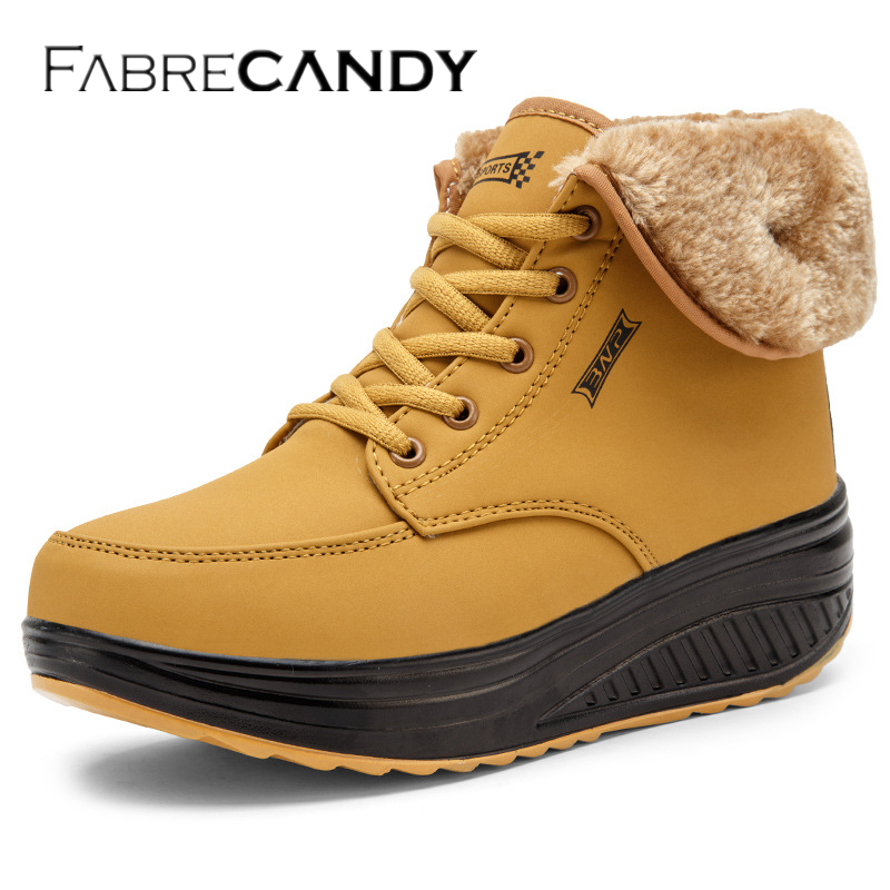 FABRECANDY Women Boots Winter Velvet Shoes Warm Snow Fur Ankle Boots For Women Lace Up Heel boots womens olang patty warm winter lace up faux fur snow rain ankle boots