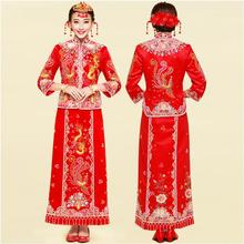 Charming Cheongsam QiPao Embroidery Chinese Women Wedding Evening Costume red Chinese Bride silk satin Canton embroidery dress