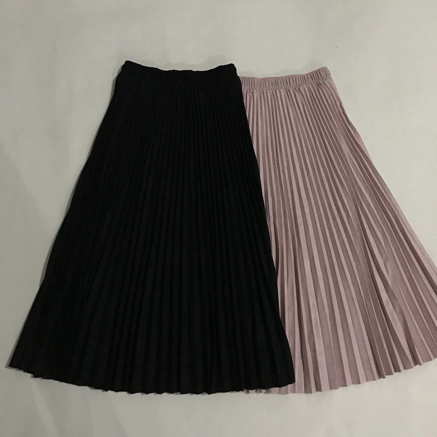 19 Two Layer Autumn Winter Women Suede Skirt Long Pleated Skirts Womens Saias Midi Faldas Vintage Women Midi Skirt 39