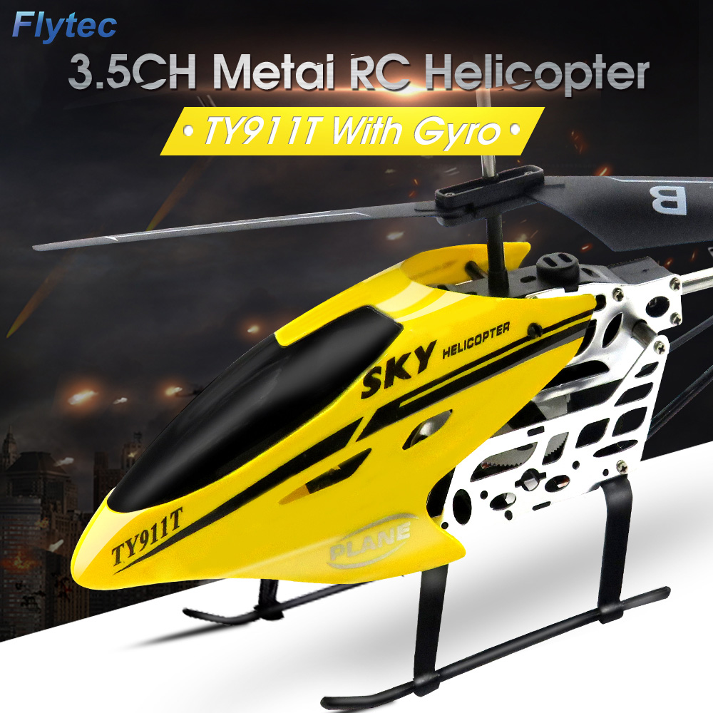 Flytec TY911T 3.5CH Metal RC Helicopter with Gyroscope for Kids Toys Children Gift Remote Control Helicopter Drone
