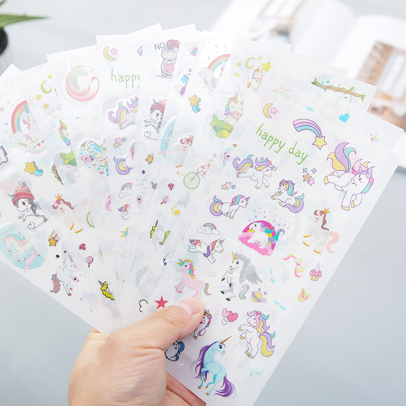 6 Sheets Cute Unicorn Stickers Cartoon PVC Decorative Stationery Sticker Pack DIY Decorated Stickers Scrapbooking School Supplie