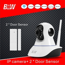 Sensor de Alarma de La Cámara de vigilancia CCTV Wifi Cámara IP Inalámbrica + 2 Sensor de La Puerta Inicio Tienda de Mercado Sistema de Cámara Baby Monitor BW02S