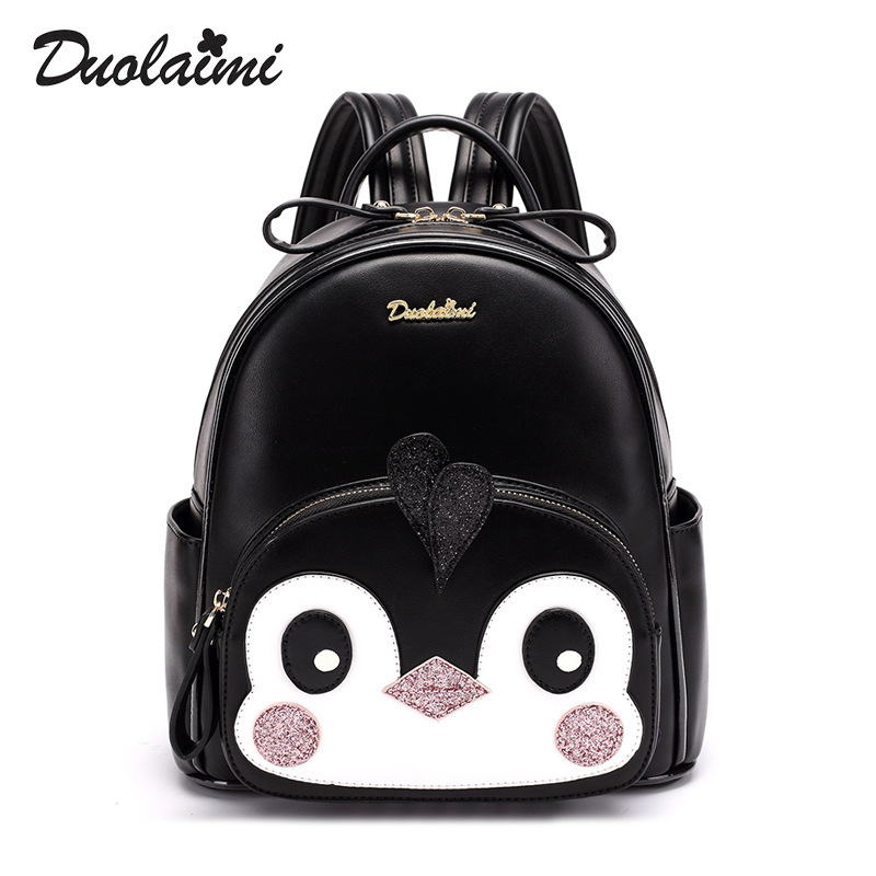 In 2018, the cute student backpacks fashion cute little penguin backpack embroidery. пинетки митенки blue penguin puku