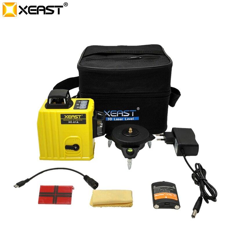 XEAST XE-61A 12 Linien 3D Laser Ebene Selbst Nivellierung 360 degre Horizontale & Vertikale Kreuz Leistungsstarke Außen verwenden können detektor