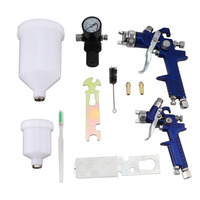 HVLP Auto Spray Paint Air Gravity Feed Spray Gun Kit W/2 Car Primer With 0.8MM 1.4MM Nozzles Full Complete Car Parts Set