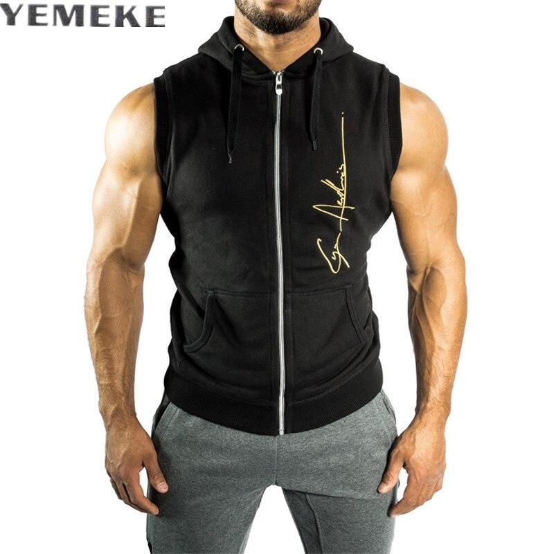 Yemeke Для мужчин S без рукавов Толстовки модные Повседневное толстовка с капюшоном Для мужчин Толстовка Для мужчин спортивной черные туфли вы...