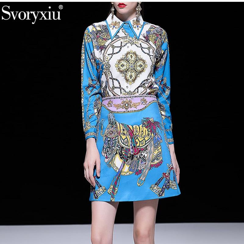 Kadın Giyim'ten Kadın Setleri'de Svoryxiu Tasarımcı Yaz lüks Boncuk Etek Takım Elbise kadın Uzun Kollu Bluz + Mini Etekler Vintage Mavi Baskılı Iki Parçalı seti'da  Grup 1