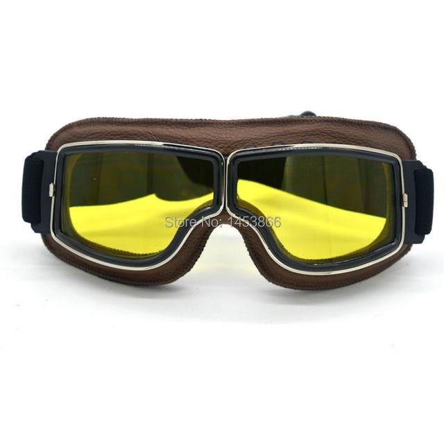 NEW Harley Style Motorcycle Goggles Pilot Motorbike Goggles Leather Retro Jet Helmet Eyewear