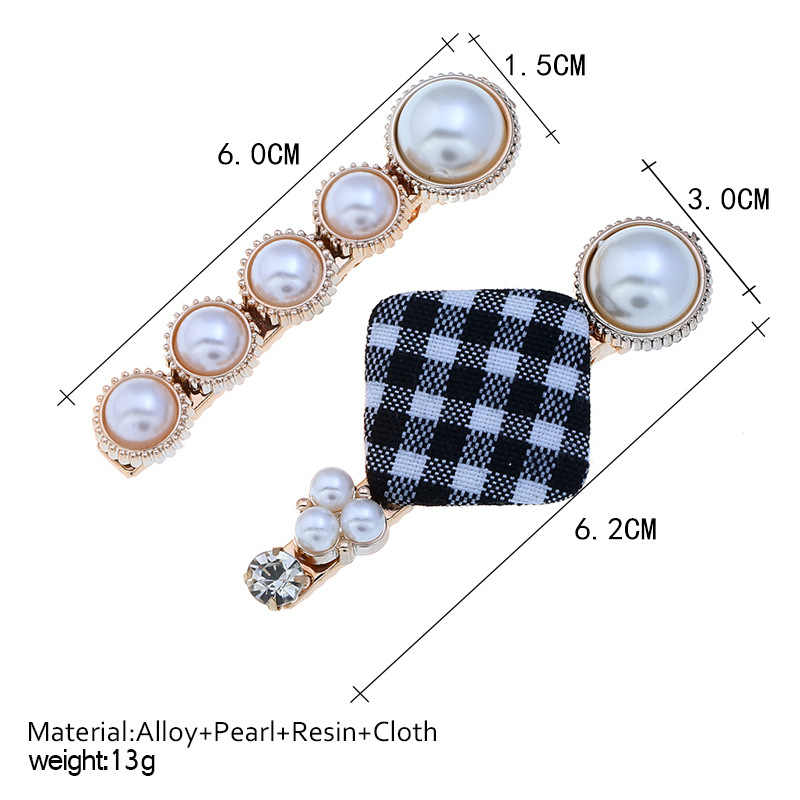 2Pcs/Set Pearl Metal Hair Clip Hairband Comb Lattice Pin Barrette Hairpin Headdress Accessories Beauty Styling Tools New Arrival