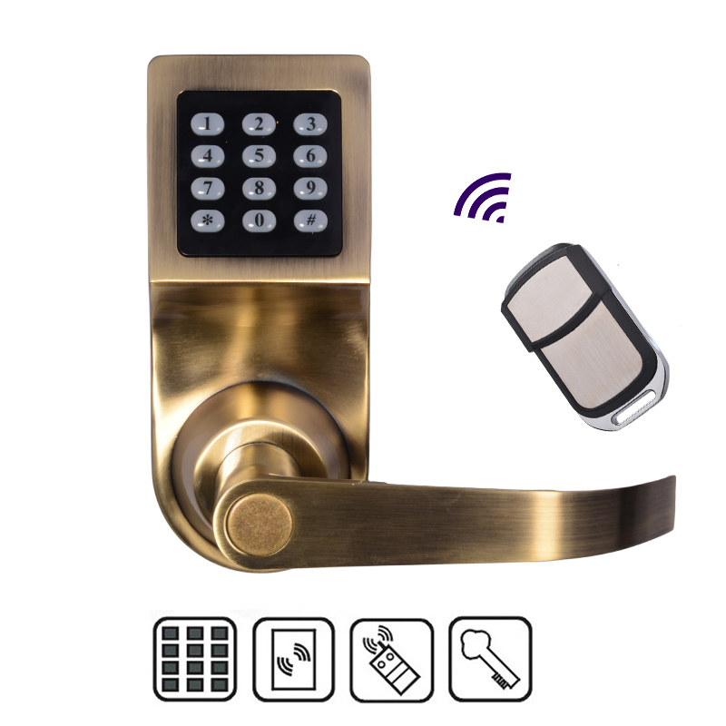 Free Shipping!  New Zinc Alloy Lock with Remote Control RFID Card unlock  Electronic Smart Access Keyless Digital Code Door Lock remote control electronic door lock set automatically intellisense household warded lock with 4 remotes