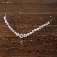 Jonnafe Fashion Bridal Forehead Tiara Zirconia Wedding Hair Crown Accessories Silver Women Prom Hairband Jewelry