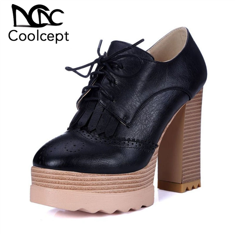 Coolcept Women s Tassels Thick High Heels Pumps Lace Up Soft Platform Working Shoes Daily Working
