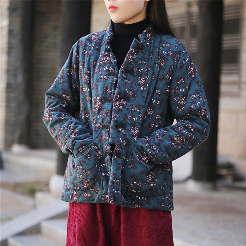 Johnature New Vintage Floral Print Chinese Style Plate Buckle   Parkas   2018 Winter Women Warm Coats Stand Collar Full Sleeve Coats