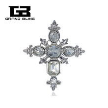 Vintage style Crystal Cross Brooch Pin with high quality