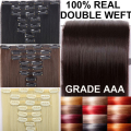 "24"" 180G Real Double Weft THICK Long Straight Clip in Full Head Hair Extensions 8 Piece Black Brown Blonde Grey Hair Extension"