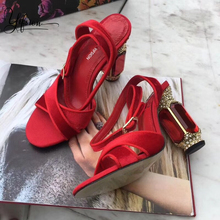 YIFSION New Fashion Blue Red Women Summer Sandals Sexy Open Toe Buckle Strap Crystal High Heel Ladies Party Shoes Woman