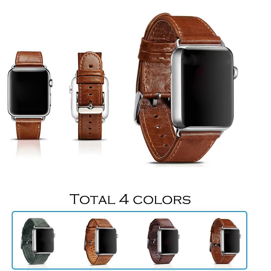 Prix pour URVOI bande pour apple watch bande/poignet/sangle/ceinture classique véritable en cuir avec acier inoxydable fermeture et adaptateur pour iwatch