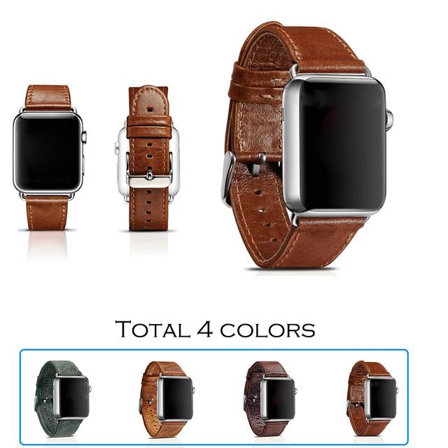 Urvoi banda para apple watch banda/muñeca/correa/correa de cuero genuino clásico con cierre de acero inoxidable y el adaptador para iwatch