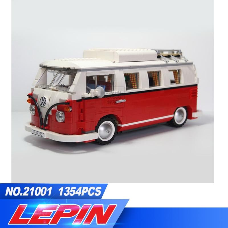 New Lepin 21001 1354Pcs Creator Volkswagen T1 Camper Van Model Building Kits Bricks Toys Compatible new lepin 21001 creator series the volkswagen t1 camper van model building blocks classic compatible l10220 technic car toys