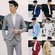 Хит, брендовая одежда, блейзер, Мужской Блейзер, M-2XL, смокинг, платье для мужчин, на одной пуговице, мужской однотонный приталенный костюм, мужской пиджак